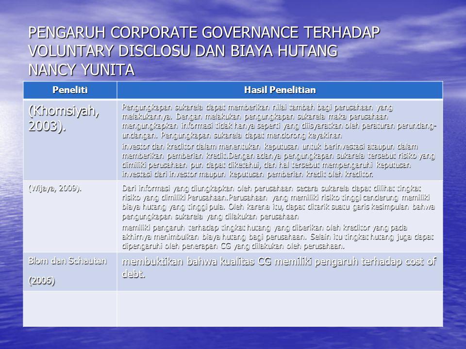 PENGARUH CORPORATE GOVERNANCE TERHADAP VOLUNTARY DISCLOSU DAN BIAYA HUTANG NANCY YUNITA Peneliti Hasil Penelitian (Khomsiyah, 2003). Pengungkapan suka
