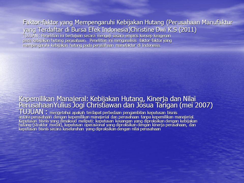 Faktor-faktor yang Mempengaruhi Kebijakan Hutang (Perusahaan Manufaktur yang Terdaftar di Bursa Efek Indonesia)Christine Dwi K.S (2011) TUJUAN : Penel
