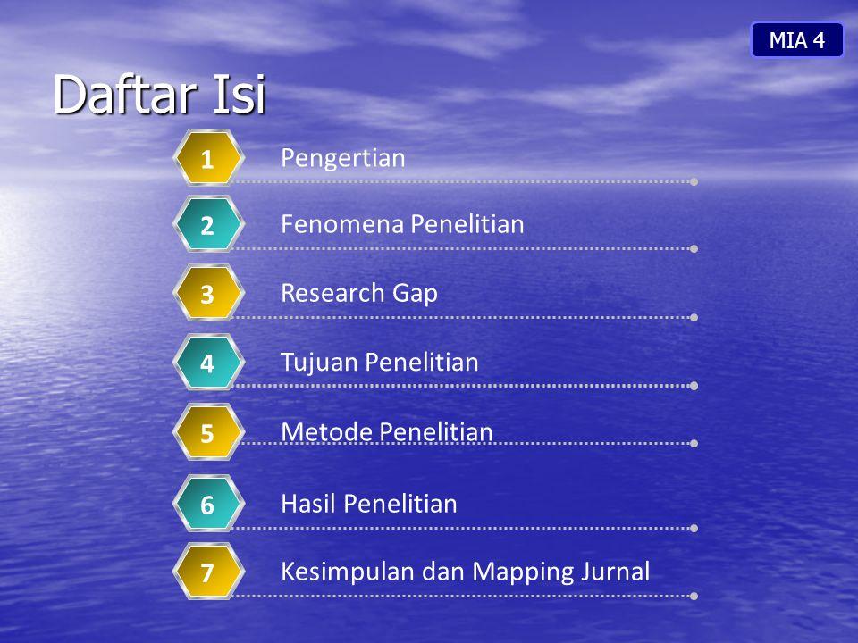 Daftar Isi Pengertian 1 Fenomena Penelitian 2 Research Gap 3 Tujuan Penelitian 4 Metode Penelitian 5 Kesimpulan dan Mapping Jurnal 7 Hasil Penelitian