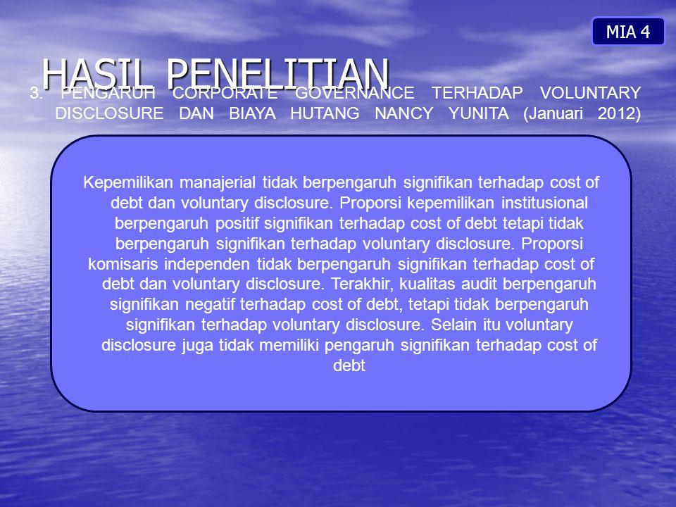 HASIL PENELITIAN MIA 4 3. PENGARUH CORPORATE GOVERNANCE TERHADAP VOLUNTARY DISCLOSURE DAN BIAYA HUTANG NANCY YUNITA (Januari 2012) Kepemilikan manajer