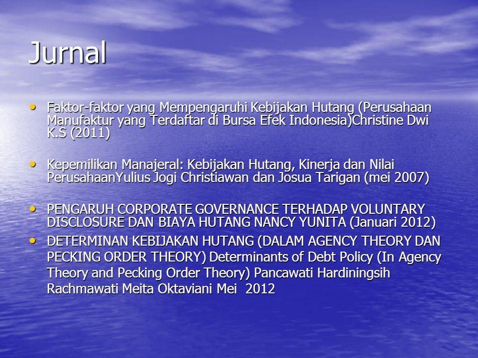 Jurnal Faktor-faktor yang Mempengaruhi Kebijakan Hutang (Perusahaan Manufaktur yang Terdaftar di Bursa Efek Indonesia)Christine Dwi K.S (2011) Faktor-
