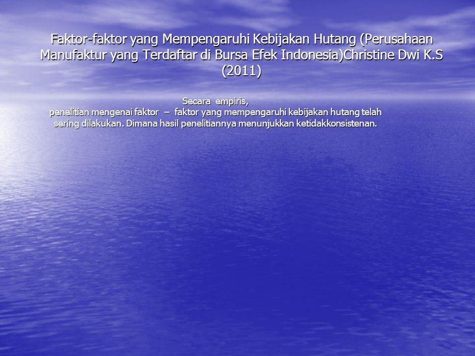 Faktor-faktor yang Mempengaruhi Kebijakan Hutang (Perusahaan Manufaktur yang Terdaftar di Bursa Efek Indonesia)Christine Dwi K.S (2011) Secara empiris