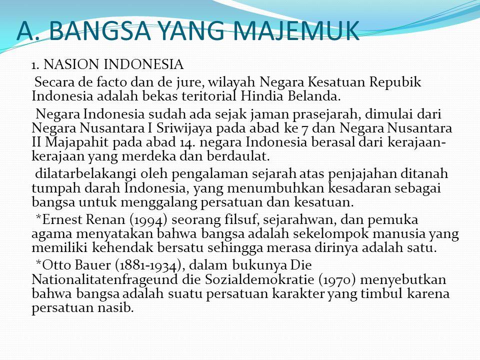 A. BANGSA YANG MAJEMUK 1. NASION INDONESIA Secara de facto dan de jure, wilayah Negara Kesatuan Repubik Indonesia adalah bekas teritorial Hindia Belan