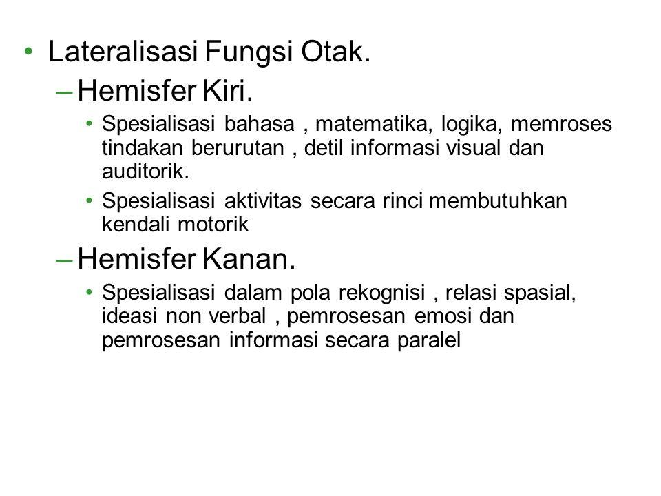 Lateralisasi Fungsi Otak. –Hemisfer Kiri. Spesialisasi bahasa, matematika, logika, memroses tindakan berurutan, detil informasi visual dan auditorik.