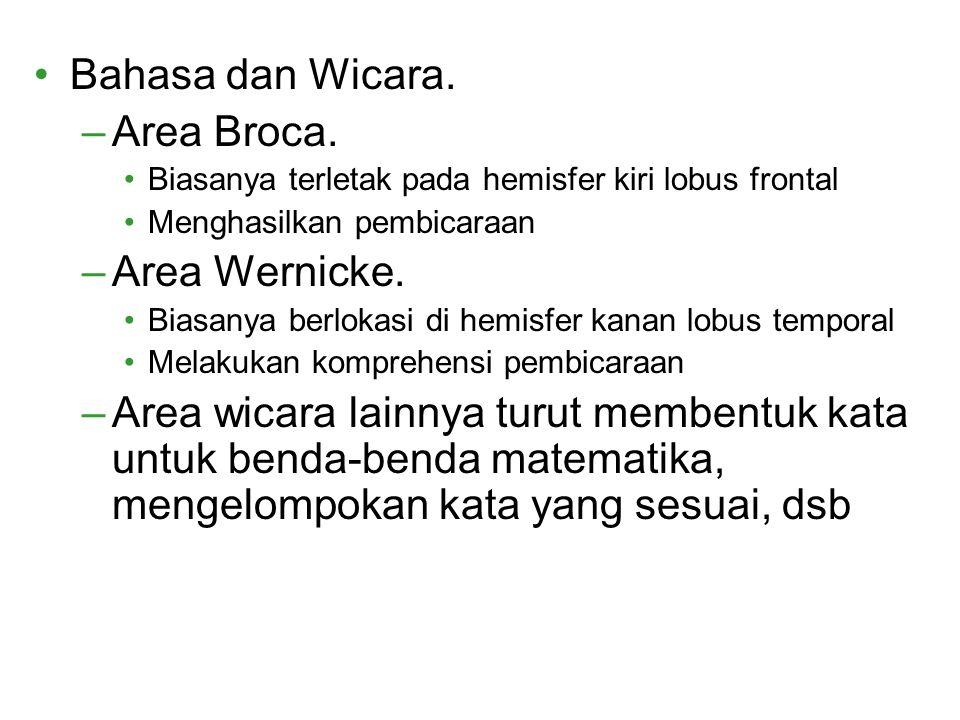 Bahasa dan Wicara. –Area Broca. Biasanya terletak pada hemisfer kiri lobus frontal Menghasilkan pembicaraan –Area Wernicke. Biasanya berlokasi di hemi