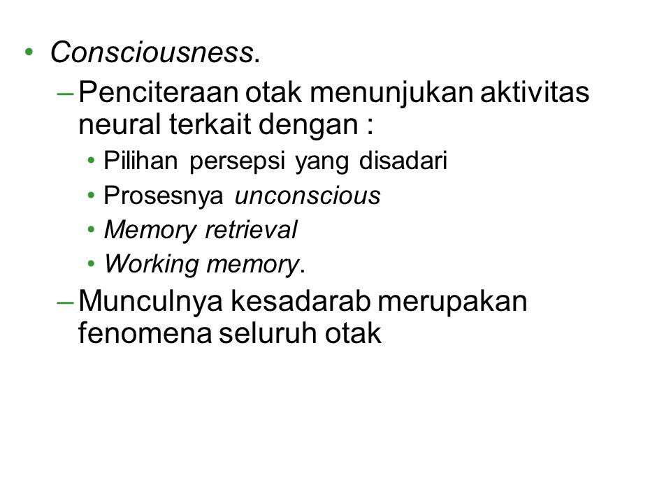 Consciousness. –Penciteraan otak menunjukan aktivitas neural terkait dengan : Pilihan persepsi yang disadari Prosesnya unconscious Memory retrieval Wo