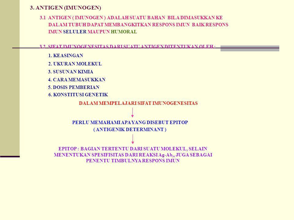 3. ANTIGEN (IMUNOGEN) 3.1 ANTIGEN ( IMUNOGEN ) ADALAH SUATU BAHAN BILA DIMASUKKAN KE DALAM TUBUH DAPAT MEMBANGKITKAN RESPONS IMUN BAIK RESPONS IMUN SE