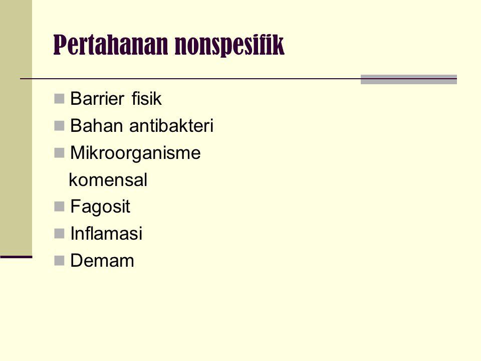 Pertahanan nonspesifik Barrier fisik Bahan antibakteri Mikroorganisme komensal Fagosit Inflamasi Demam