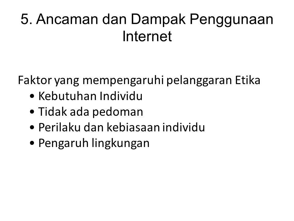 5. Ancaman dan Dampak Penggunaan Internet Faktor yang mempengaruhi pelanggaran Etika Kebutuhan Individu Tidak ada pedoman Perilaku dan kebiasaan indiv