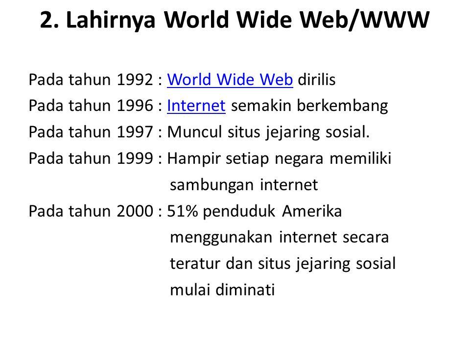 2. Lahirnya World Wide Web/WWW Pada tahun 1992 : World Wide Web dirilisWorld Wide Web Pada tahun 1996 : Internet semakin berkembangInternet Pada tahun