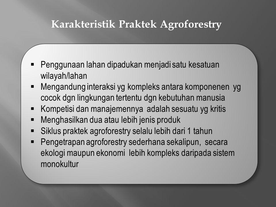 Karakteristik Praktek Agroforestry  Penggunaan lahan dipadukan menjadi satu kesatuan wilayah/lahan  Mengandung interaksi yg kompleks antara komponenen yg cocok dgn lingkungan tertentu dgn kebutuhan manusia  Kompetisi dan manajemennya adalah sesuatu yg kritis  Menghasilkan dua atau lebih jenis produk  Siklus praktek agroforestry selalu lebih dari 1 tahun  Pengetrapan agroforestry sederhana sekalipun, secara ekologi maupun ekonomi lebih kompleks daripada sistem monokultur  Penggunaan lahan dipadukan menjadi satu kesatuan wilayah/lahan  Mengandung interaksi yg kompleks antara komponenen yg cocok dgn lingkungan tertentu dgn kebutuhan manusia  Kompetisi dan manajemennya adalah sesuatu yg kritis  Menghasilkan dua atau lebih jenis produk  Siklus praktek agroforestry selalu lebih dari 1 tahun  Pengetrapan agroforestry sederhana sekalipun, secara ekologi maupun ekonomi lebih kompleks daripada sistem monokultur