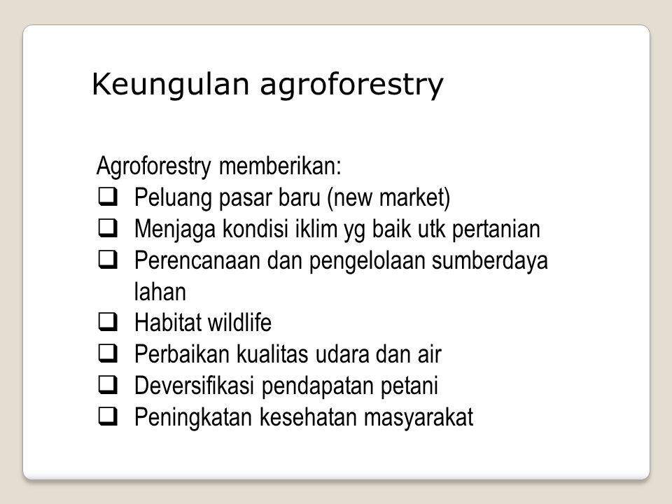 Keungulan agroforestry Agroforestry memberikan:  Peluang pasar baru (new market)  Menjaga kondisi iklim yg baik utk pertanian  Perencanaan dan pengelolaan sumberdaya lahan  Habitat wildlife  Perbaikan kualitas udara dan air  Deversifikasi pendapatan petani  Peningkatan kesehatan masyarakat