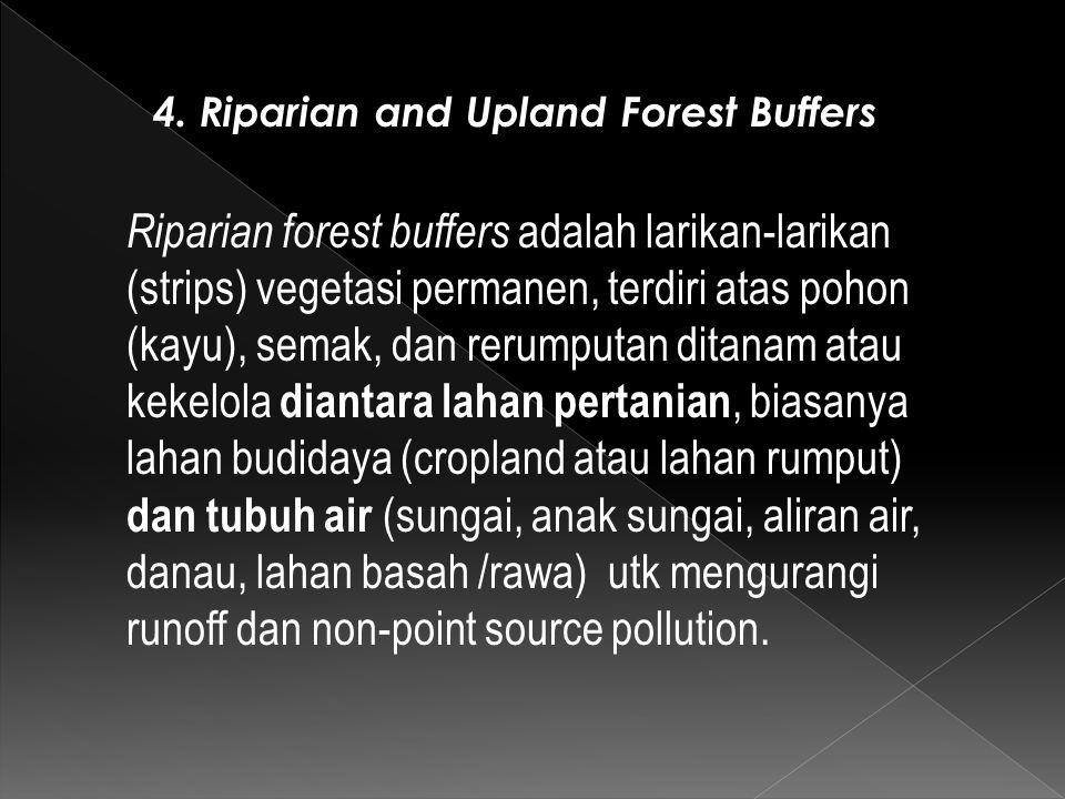 Riparian forest buffers adalah larikan-larikan (strips) vegetasi permanen, terdiri atas pohon (kayu), semak, dan rerumputan ditanam atau kekelola dian