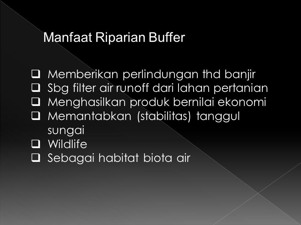 Manfaat Riparian Buffer  Memberikan perlindungan thd banjir  Sbg filter air runoff dari lahan pertanian  Menghasilkan produk bernilai ekonomi  Memantabkan (stabilitas) tanggul sungai  Wildlife  Sebagai habitat biota air