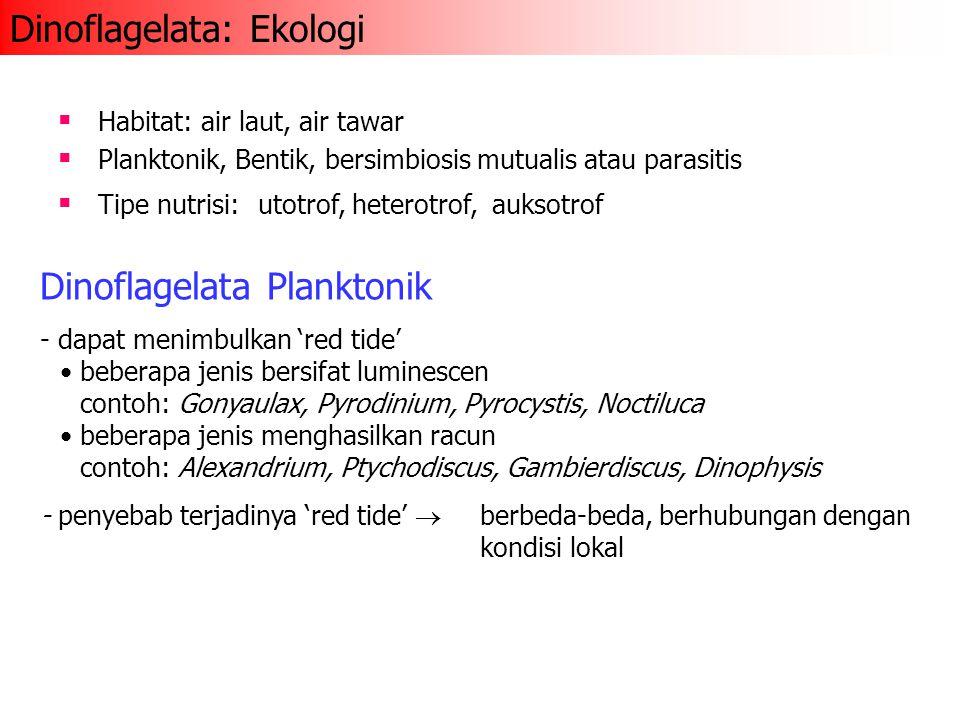 Dinoflagelata Planktonik - dapat menimbulkan 'red tide' beberapa jenis bersifat luminescen contoh: Gonyaulax, Pyrodinium, Pyrocystis, Noctiluca beberapa jenis menghasilkan racun contoh: Alexandrium, Ptychodiscus, Gambierdiscus, Dinophysis - penyebab terjadinya 'red tide'  berbeda-beda, berhubungan dengan kondisi lokal  Habitat: air laut, air tawar  Planktonik, Bentik, bersimbiosis mutualis atau parasitis  Tipe nutrisi:utotrof, heterotrof, auksotrof Dinoflagelata: Ekologi