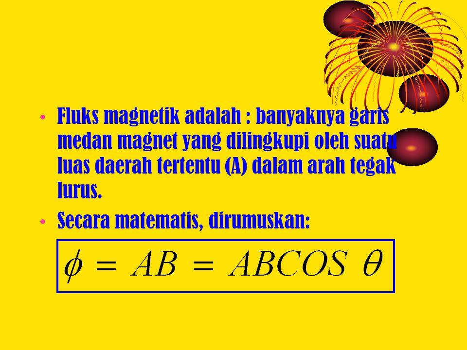 Fluks magnetik adalah : banyaknya garis medan magnet yang dilingkupi oleh suatu luas daerah tertentu (A) dalam arah tegak lurus. Secara matematis, dir
