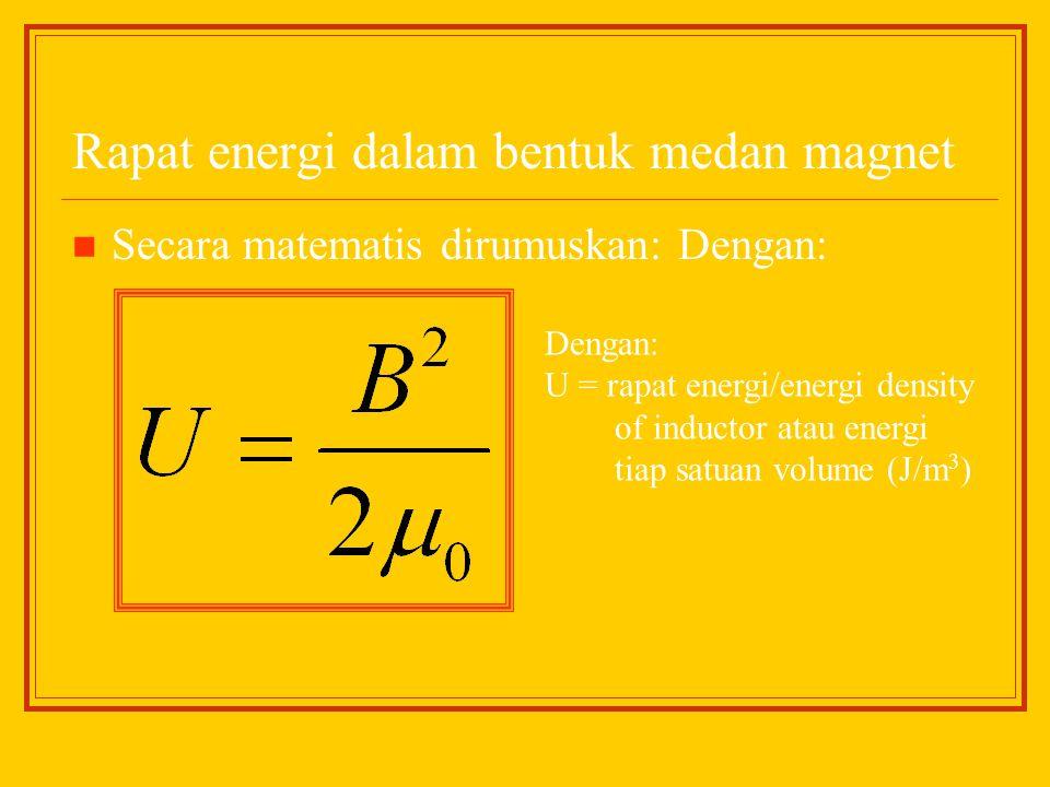 Rapat energi dalam bentuk medan magnet Secara matematis dirumuskan: Dengan: Dengan: U = rapat energi/energi density of inductor atau energi tiap satua