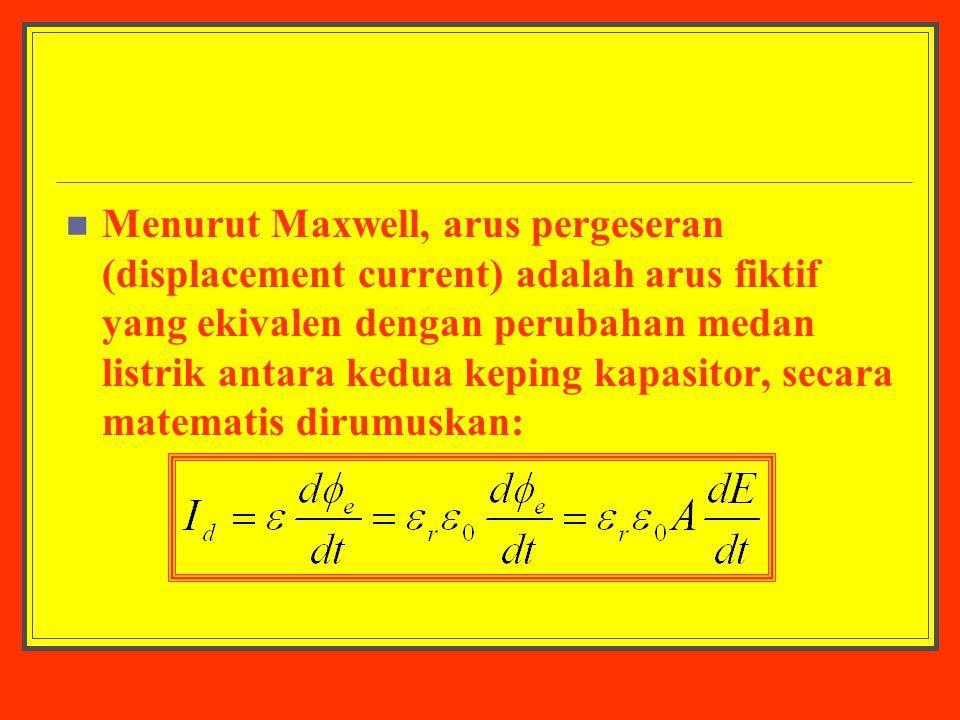Menurut Maxwell, arus pergeseran (displacement current) adalah arus fiktif yang ekivalen dengan perubahan medan listrik antara kedua keping kapasitor,