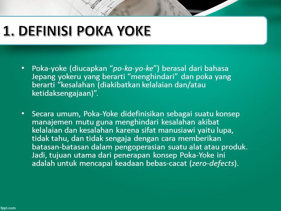 """Poka-yoke (diucapkan """"po-ka-yo-ke"""") berasal dari bahasa Jepang yokeru yang berarti """"menghindari"""" dan poka yang berarti """"kesalahan (diakibatkan kelalai"""