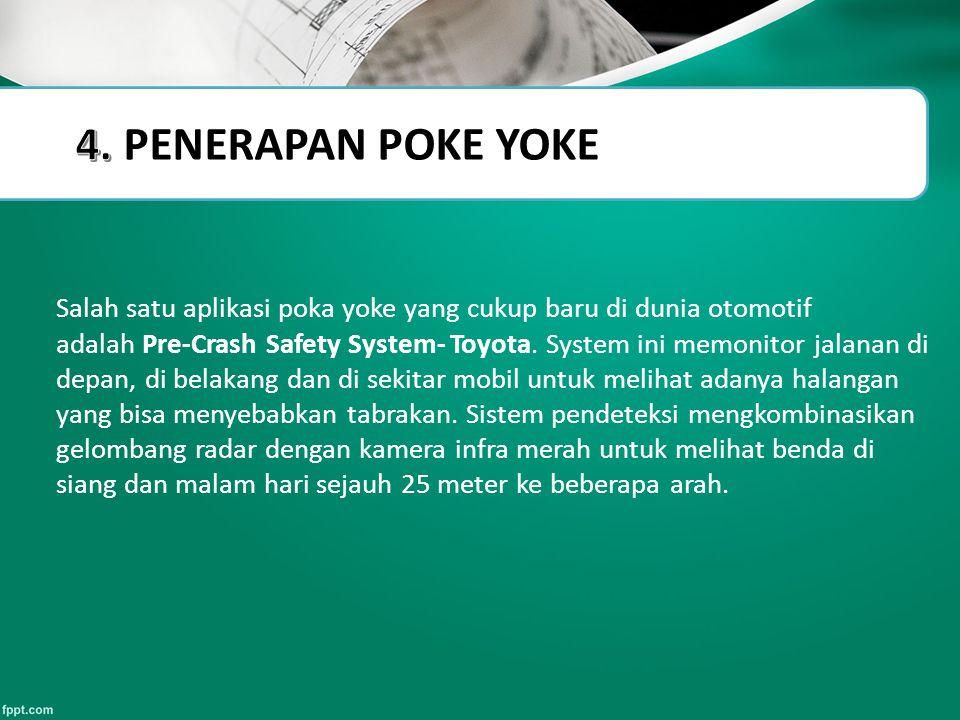 Slide Title Salah satu aplikasi poka yoke yang cukup baru di dunia otomotif adalah Pre-Crash Safety System- Toyota. System ini memonitor jalanan di de