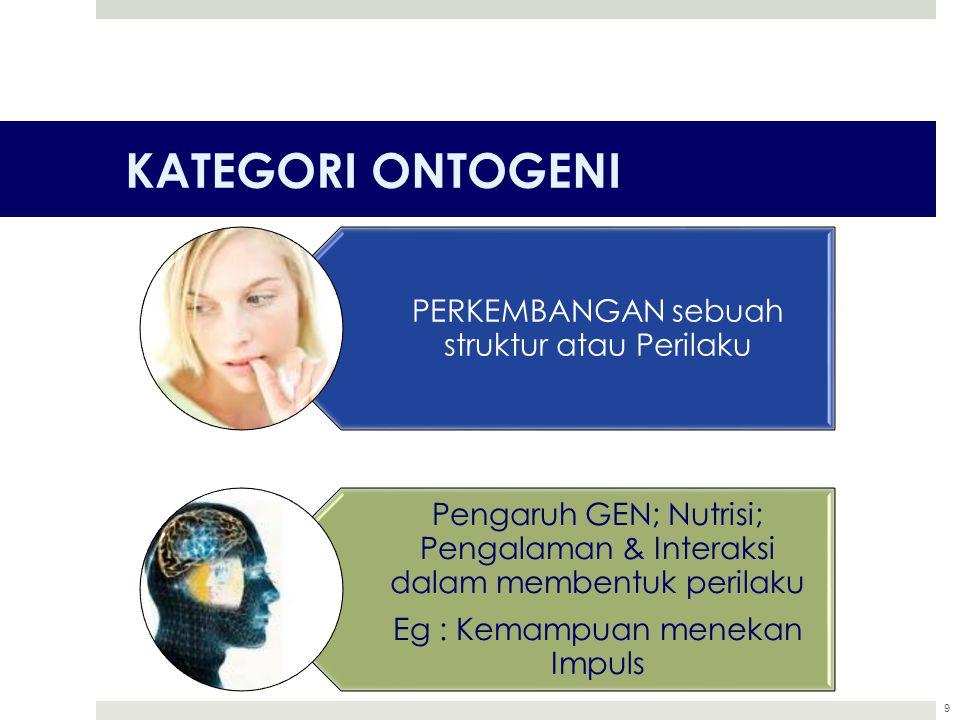 KATEGORI ONTOGENI 9 PERKEMBANGAN sebuah struktur atau Perilaku Pengaruh GEN; Nutrisi; Pengalaman & Interaksi dalam membentuk perilaku Eg : Kemampuan m