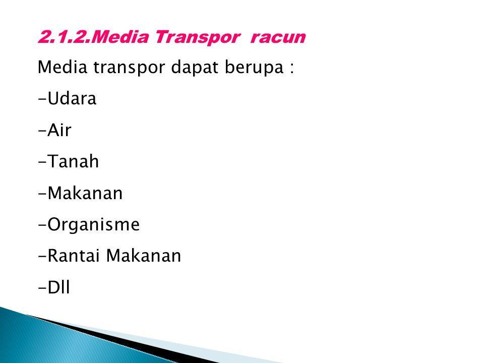 2.1.2.Media Transpor racun Media transpor dapat berupa : -Udara -Air -Tanah -Makanan -Organisme -Rantai Makanan -Dll