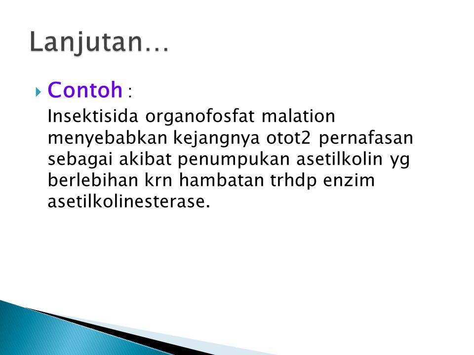  Contoh : Insektisida organofosfat malation menyebabkan kejangnya otot2 pernafasan sebagai akibat penumpukan asetilkolin yg berlebihan krn hambatan t