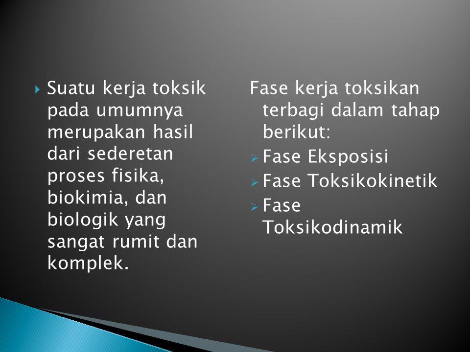  Suatu kerja toksik pada umumnya merupakan hasil dari sederetan proses fisika, biokimia, dan biologik yang sangat rumit dan komplek. Fase kerja toksi