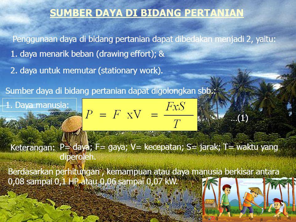 SUMBER DAYA DI BIDANG PERTANIAN Penggunaan daya di bidang pertanian dapat dibedakan menjadi 2, yaitu: 1. daya menarik beban (drawing effort); & 2. day