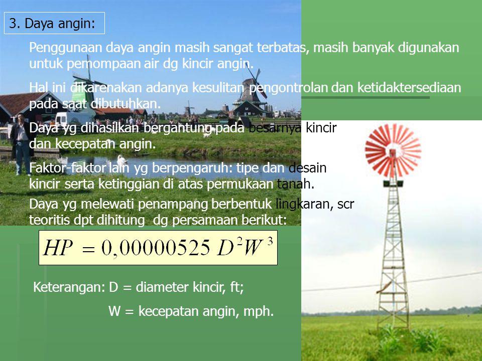 3. Daya angin: Penggunaan daya angin masih sangat terbatas, masih banyak digunakan untuk pemompaan air dg kincir angin. Hal ini dikarenakan adanya kes