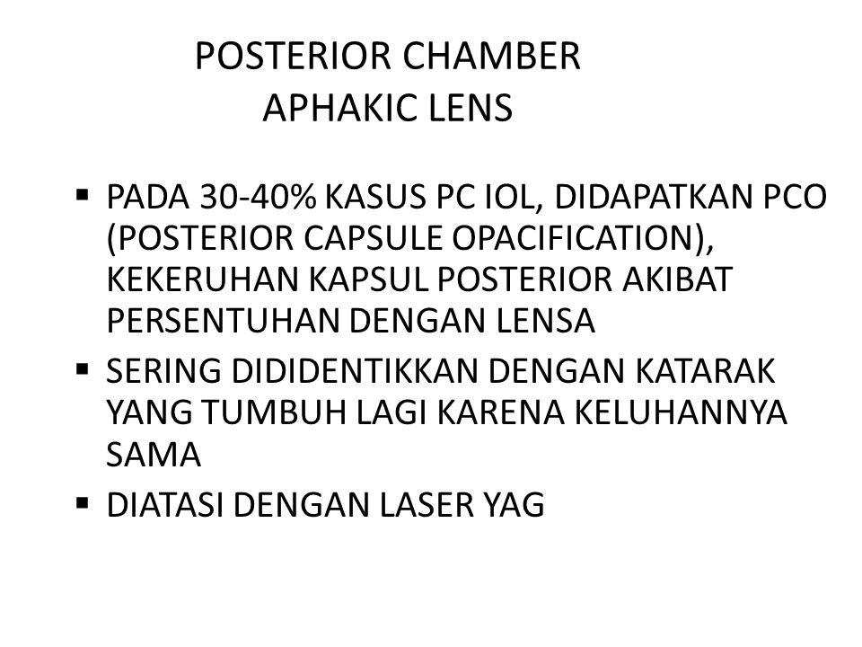 POSTERIOR CHAMBER APHAKIC LENS  PADA 30-40% KASUS PC IOL, DIDAPATKAN PCO (POSTERIOR CAPSULE OPACIFICATION), KEKERUHAN KAPSUL POSTERIOR AKIBAT PERSENT