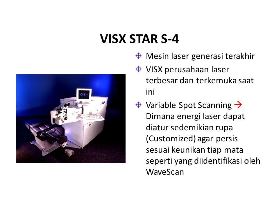 VISX STAR S-4 Mesin laser generasi terakhir VISX perusahaan laser terbesar dan terkemuka saat ini Variable Spot Scanning  Dimana energi laser dapat d