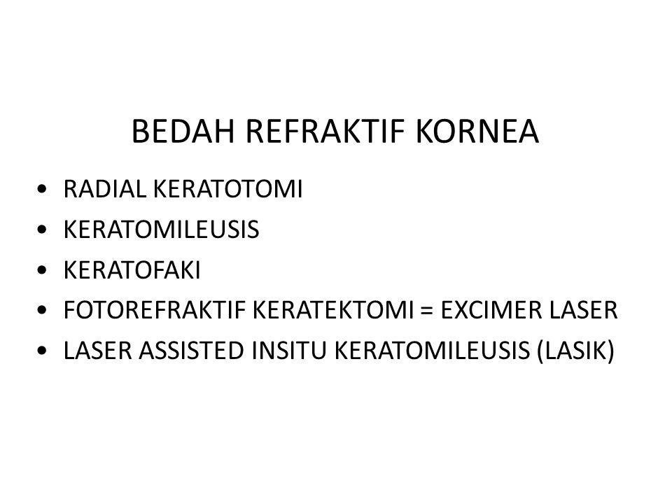 BEDAH REFRAKTIF KORNEA RADIAL KERATOTOMI KERATOMILEUSIS KERATOFAKI FOTOREFRAKTIF KERATEKTOMI = EXCIMER LASER LASER ASSISTED INSITU KERATOMILEUSIS (LAS
