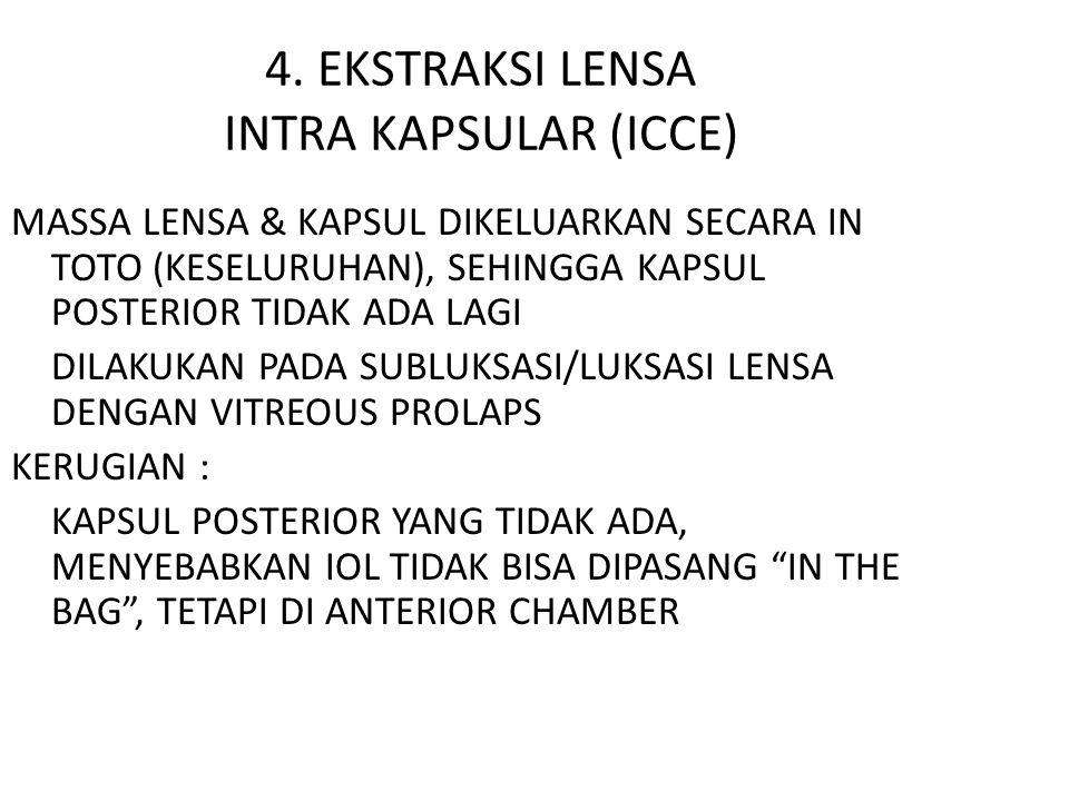 4. EKSTRAKSI LENSA INTRA KAPSULAR (ICCE) MASSA LENSA & KAPSUL DIKELUARKAN SECARA IN TOTO (KESELURUHAN), SEHINGGA KAPSUL POSTERIOR TIDAK ADA LAGI DILAK