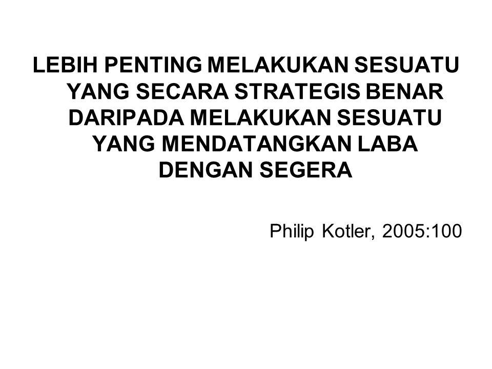 LEBIH PENTING MELAKUKAN SESUATU YANG SECARA STRATEGIS BENAR DARIPADA MELAKUKAN SESUATU YANG MENDATANGKAN LABA DENGAN SEGERA Philip Kotler, 2005:100