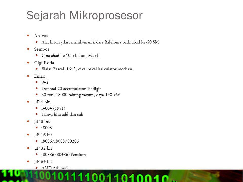 Sejarah Mikroprosesor Abacus Alat hitung dari manik-manik dari Babilonia pada abad ke-50 SM Sempoa Cina abad ke 10 sebelum Masehi Gigi Roda Blaise Pas