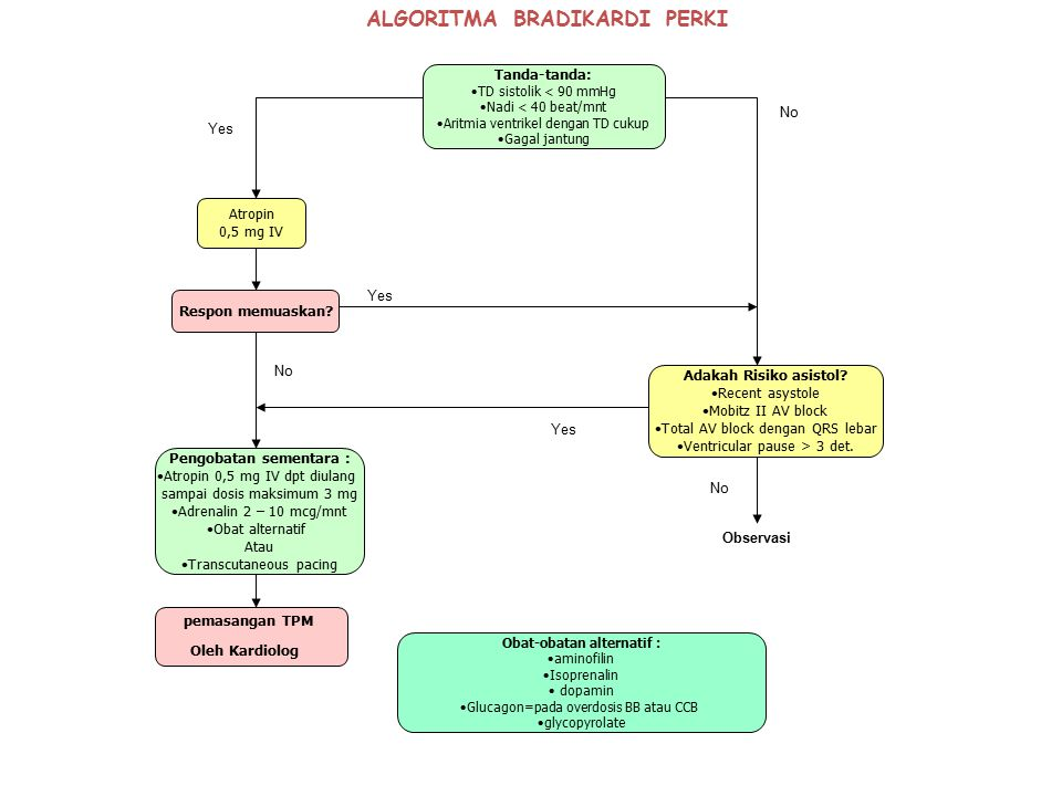 ALGORITMA BRADIKARDI PERKI pemasangan TPM Oleh Kardiolog Obat-obatan alternatif : aminofilin Isoprenalin dopamin Glucagon=pada overdosis BB atau CCB g