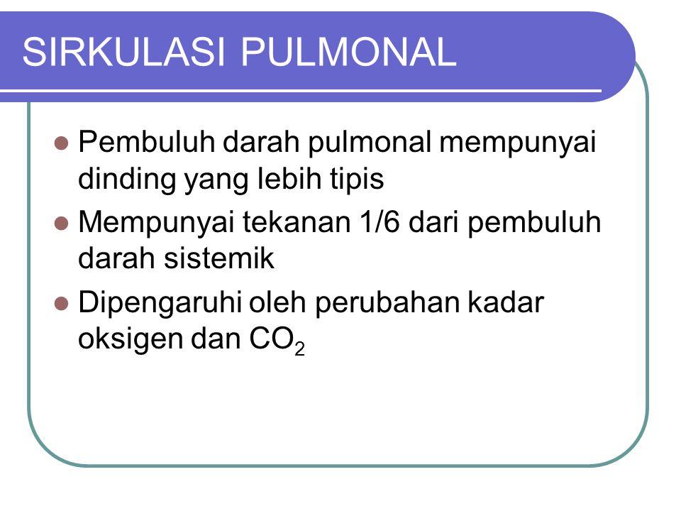 SIRKULASI PULMONAL Pembuluh darah pulmonal mempunyai dinding yang lebih tipis Mempunyai tekanan 1/6 dari pembuluh darah sistemik Dipengaruhi oleh peru