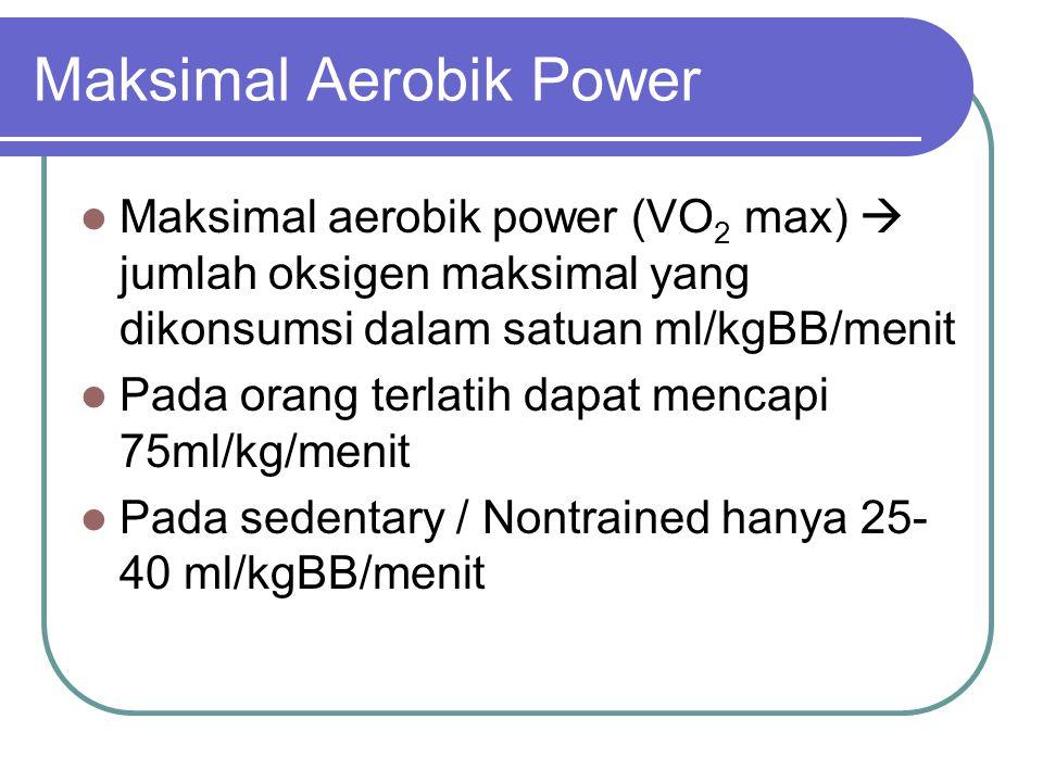 Maksimal Aerobik Power Maksimal aerobik power (VO 2 max)  jumlah oksigen maksimal yang dikonsumsi dalam satuan ml/kgBB/menit Pada orang terlatih dapa