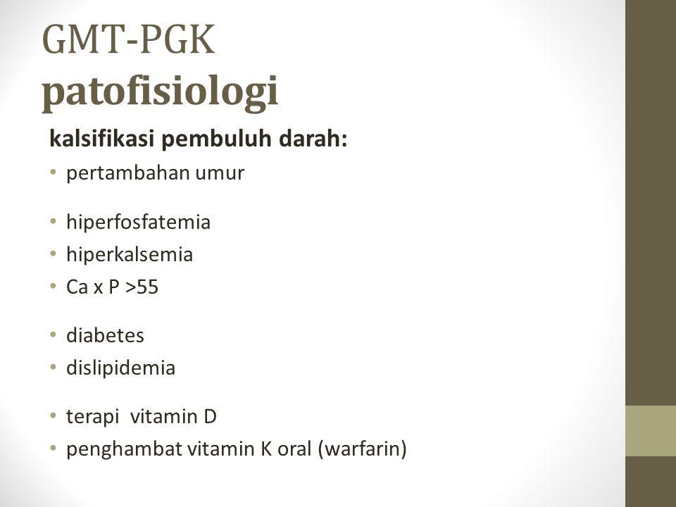 GMT-PGK patofisiologi kalsifikasi pembuluh darah: pertambahan umur hiperfosfatemia hiperkalsemia Ca x P >55 diabetes dislipidemia terapi vitamin D penghambat vitamin K oral (warfarin)