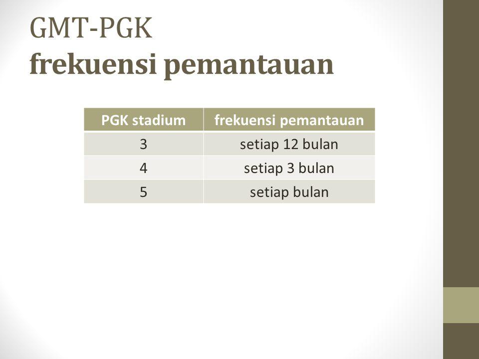 GMT-PGK frekuensi pemantauan PGK stadiumfrekuensi pemantauan 3setiap 12 bulan 4setiap 3 bulan 5setiap bulan