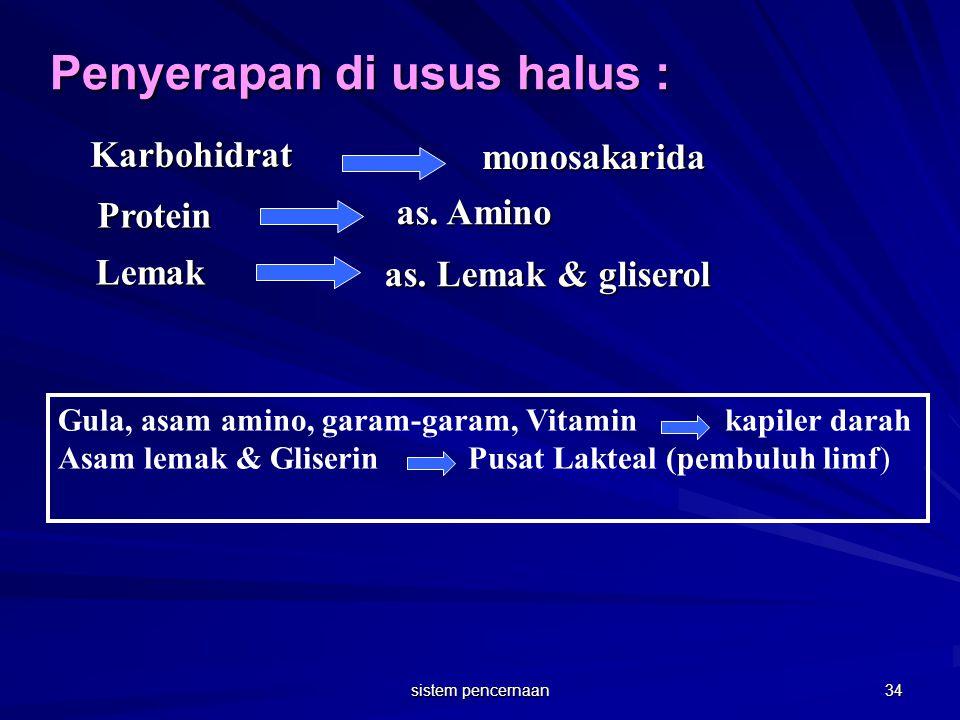 Penyerapan di usus halus : Gula, asam amino, garam-garam, Vitamin kapiler darah Asam lemak & Gliserin Pusat Lakteal (pembuluh limf) Karbohidrat monosa