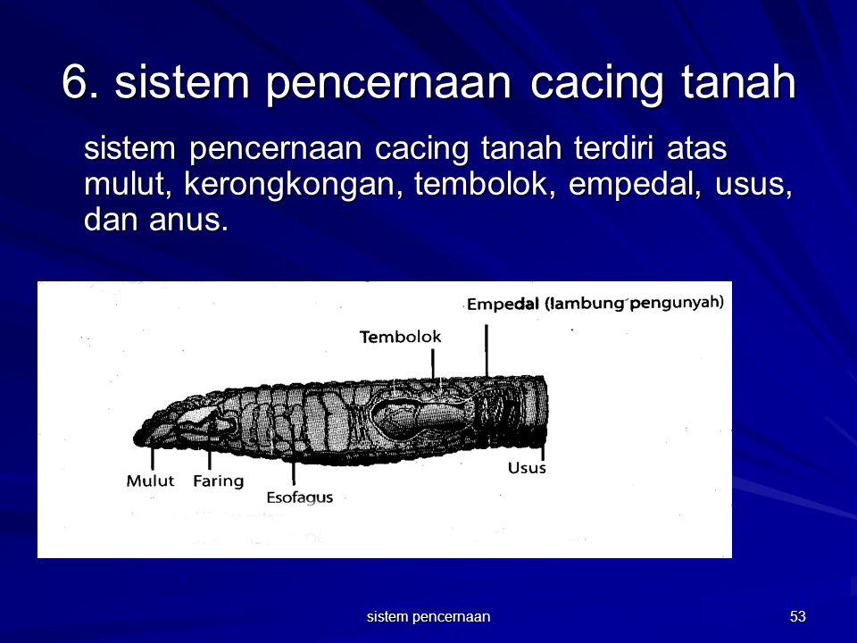 6. sistem pencernaan cacing tanah sistem pencernaan cacing tanah terdiri atas mulut, kerongkongan, tembolok, empedal, usus, dan anus. 53 sistem pencer