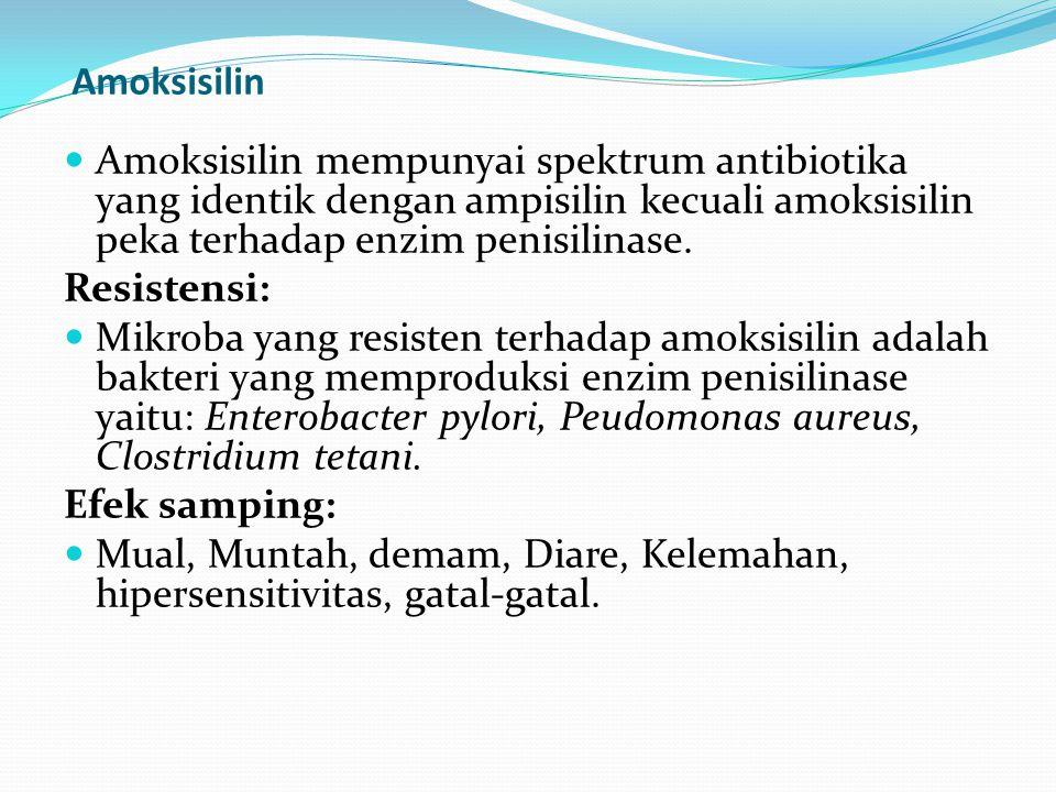 Amoksisilin Amoksisilin mempunyai spektrum antibiotika yang identik dengan ampisilin kecuali amoksisilin peka terhadap enzim penisilinase. Resistensi: