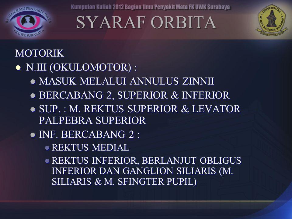 MOTORIK N.III (OKULOMOTOR) : N.III (OKULOMOTOR) : MASUK MELALUI ANNULUS ZINNII MASUK MELALUI ANNULUS ZINNII BERCABANG 2, SUPERIOR & INFERIOR BERCABANG