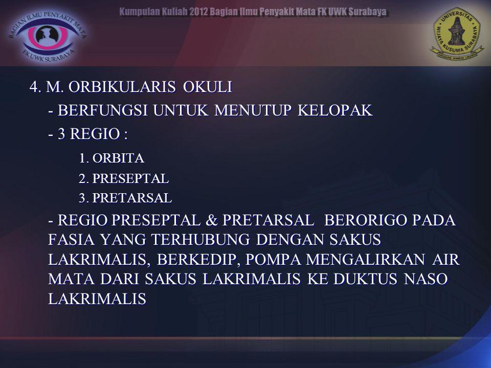 4. M. ORBIKULARIS OKULI - BERFUNGSI UNTUK MENUTUP KELOPAK - 3 REGIO : 1. ORBITA 2. PRESEPTAL 3. PRETARSAL - REGIO PRESEPTAL & PRETARSAL BERORIGO PADA
