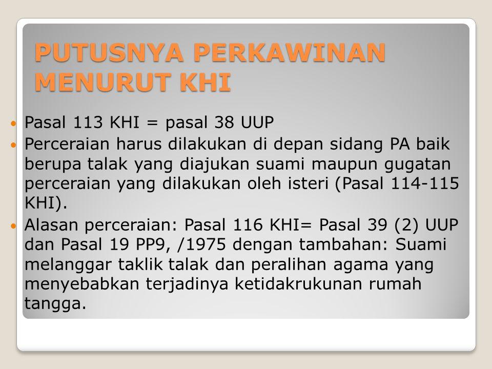 PUTUSNYA PERKAWINAN MENURUT KHI Pasal 113 KHI = pasal 38 UUP Perceraian harus dilakukan di depan sidang PA baik berupa talak yang diajukan suami maupun gugatan perceraian yang dilakukan oleh isteri (Pasal 114-115 KHI).
