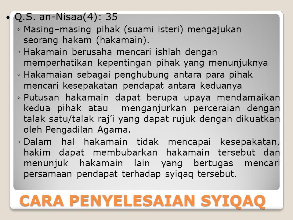 CARA PENYELESAIAN SYIQAQ Q.S. an-Nisaa(4): 35 ◦Masing–masing pihak (suami isteri) mengajukan seorang hakam (hakamain). ◦Hakamain berusaha mencari ishl