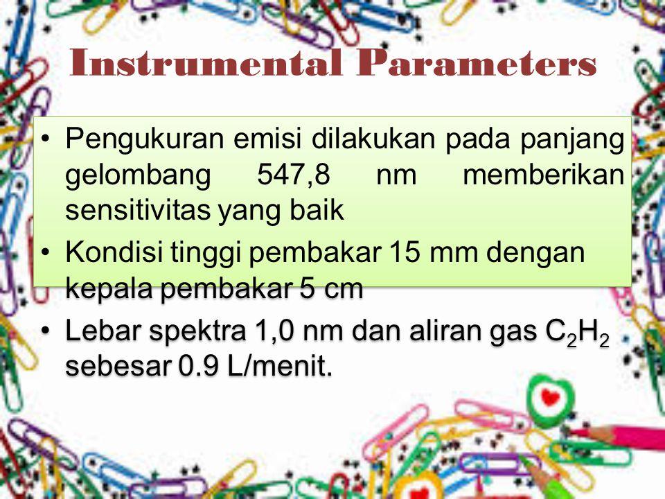 Instrumental Parameters Pengukuran emisi dilakukan pada panjang gelombang 547,8 nm memberikan sensitivitas yang baik Kondisi tinggi pembakar 15 mm den