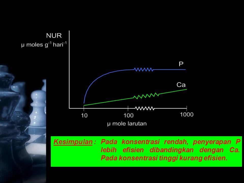 Kesimpulan :Pada konsentrasi rendah, penyerapan P lebih efisien dibandingkan dengan Ca. Pada konsentrasi tinggi kurang efisien.